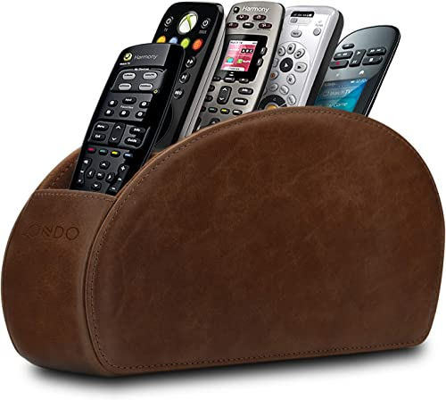 Londo Remote Controller Holder Organizer Store DVD Blu-ray TV Roku or Apple TV Remotes – Italian Genuine Leather with Suede Lining Living or Bedroom Storage Rustic Brown OTTOREMOTE