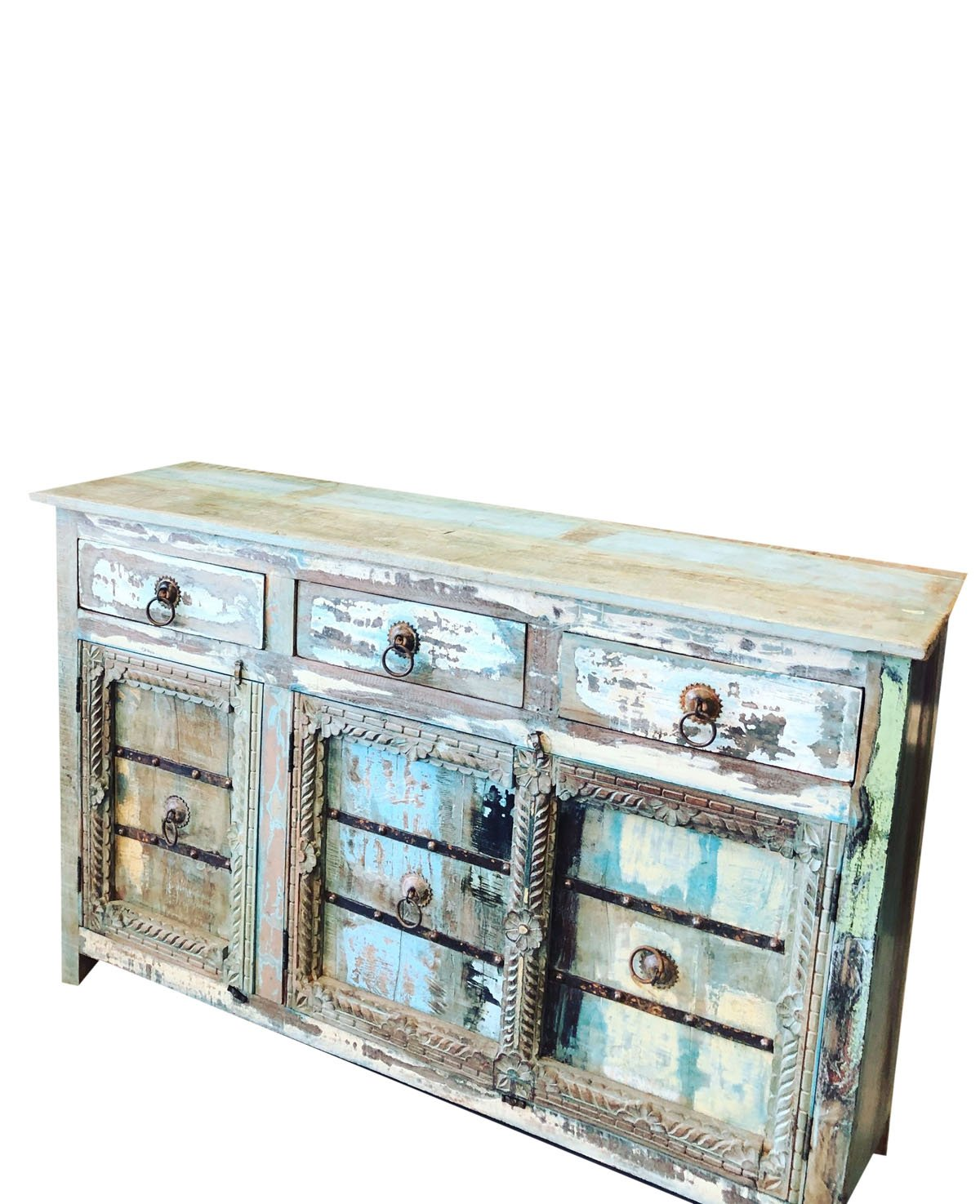 Mogul Interior Antique Sideboard Solid Wood Console Rustic Distressed Blue Chest Buffet Cabinet Furniture Farmhouse Chic by Mogul Interior (Image #3)