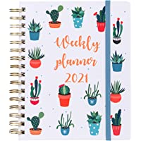 """2021 Planner, Academic Weekly and Monthly Planners, Jan 2021 to Dec 2021, 7"""" x 8.5"""", Flexible Hardcover, Strong Twin…"""