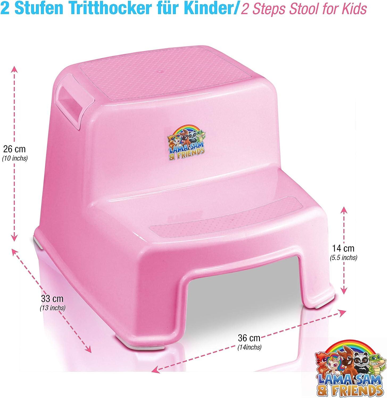 Lama Sam & Friends - Taburetes en dos etapas para niños Escalón para el Baño para Enseñar a Usar el WC a Niños Pequeños y Bebés y Quitarles el Pañal, Banquillo Antideslizante: