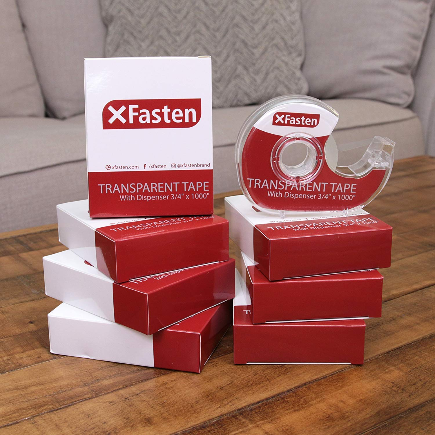 3//4-Inch x 1000-Inch 8-Pack XFasten Crystal Clear Transparent Tape with Dispenser Glossy Cellophane Office Transparent Tape Yellowing Resistant