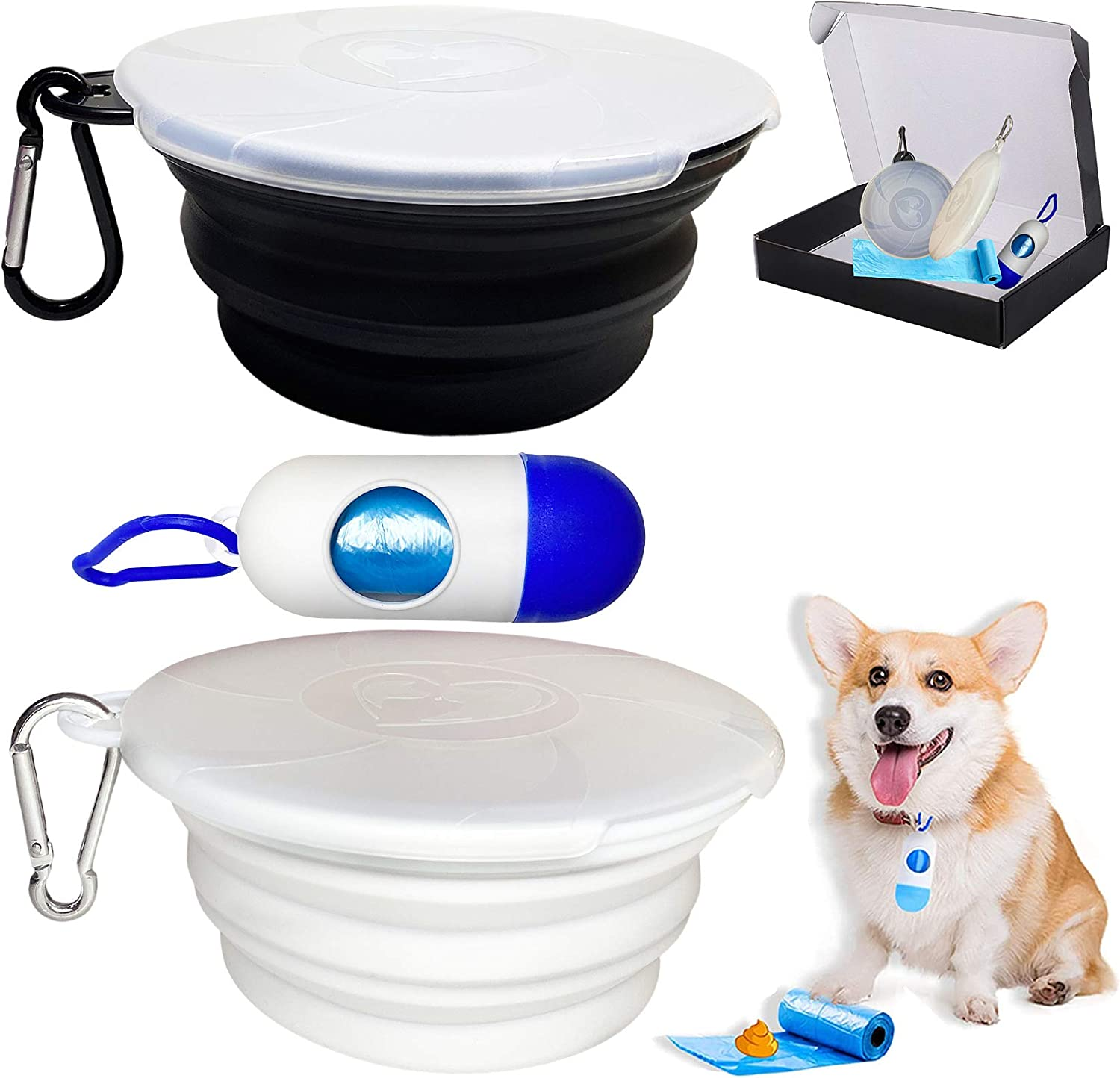 Collapsible Dog Bowl for Travel, 2 Pack Silicone Foldable Bowls with Lids & Dog Poop Bag with Dispenser, Dog Water Food Bowl Cat Feeding Cup Dish, Small Dog Portable Bowl Set,450ml,15oz (Black+White)