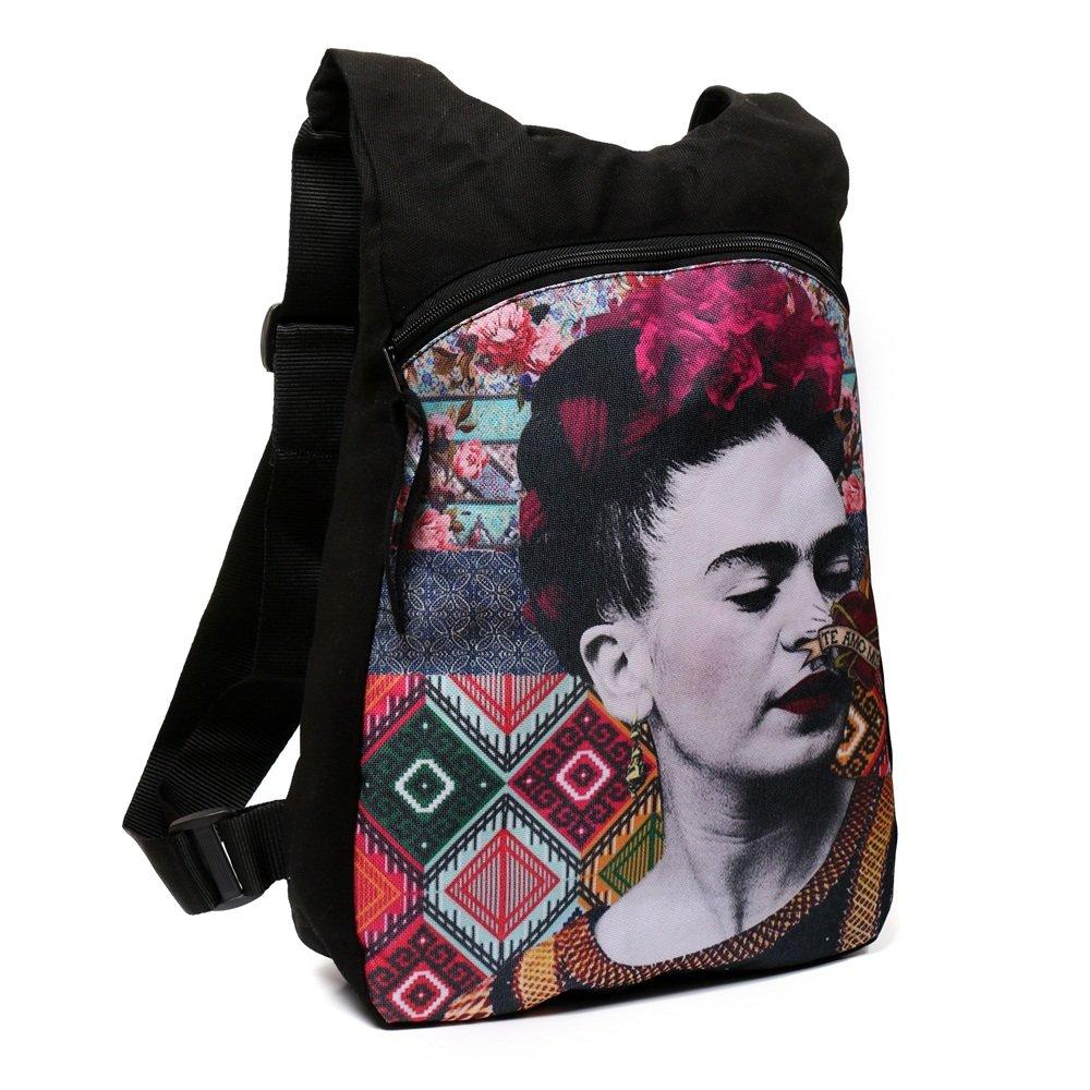 Akitai Frida Kahlo Portrait Black Canvas Printed Backpack Womens Purse Fashion Gypsy Bohemian Art Summer Ideas