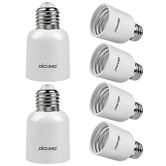 DiCUNO E27 a E40 Socket Converter Adaptador de enchufe de 6 paquetes Adaptador de base de