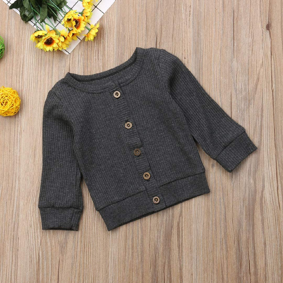 Toddler Baby Boy Girl Knit Sweater Long Sleeve Crew Neck Button Cardigans Infant Sweaters Fall Winter