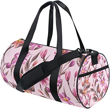 AHOMY Tropical Flower Sports Gym Bag with Shoes Compartment Travel Duffel Bag