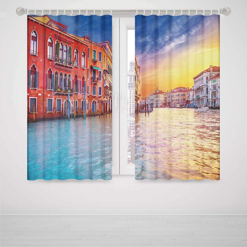 iPrint Dark Curtains for Bedroom no Light Italian Decor European Magical Venice Canal with Historical Buildings Famous Town Scenery High-Precision Blackout CurtainBlue Orange