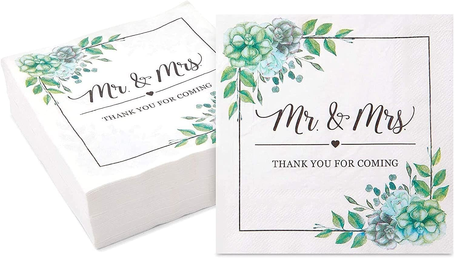 Mr. and Mrs. Paper Napkins for Wedding (6.5 In, 100 Pack)