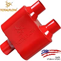 """$21 » TOTALFLOW 342515-2 Single Chamber Universal 2.5"""" Muffler - 2.50"""" Center In / 2.25"""" Dual Out"""