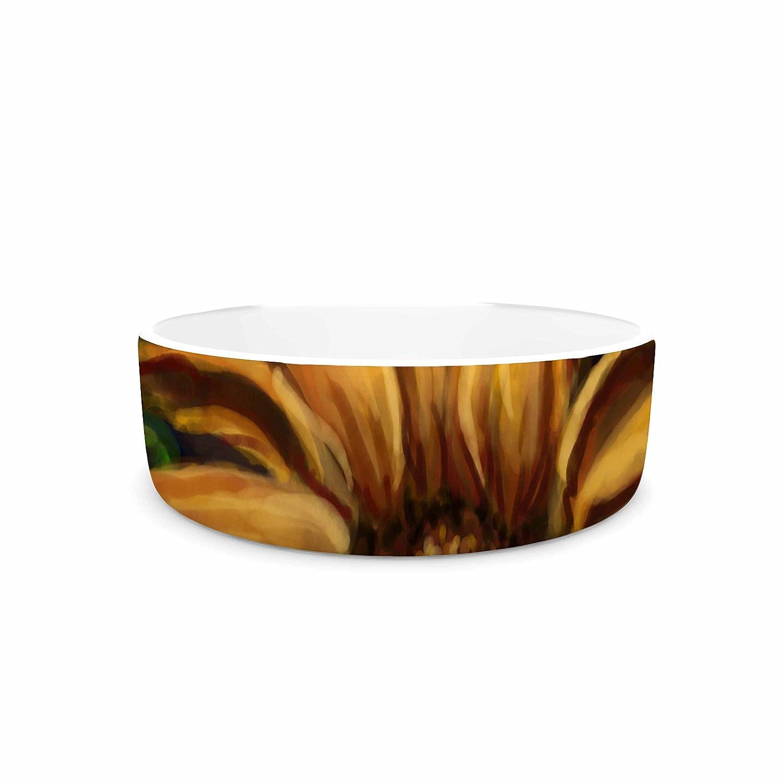 7\ KESS InHouse Cyndi Steen Sunflower days  Yellow Floral Pet Bowl, 7