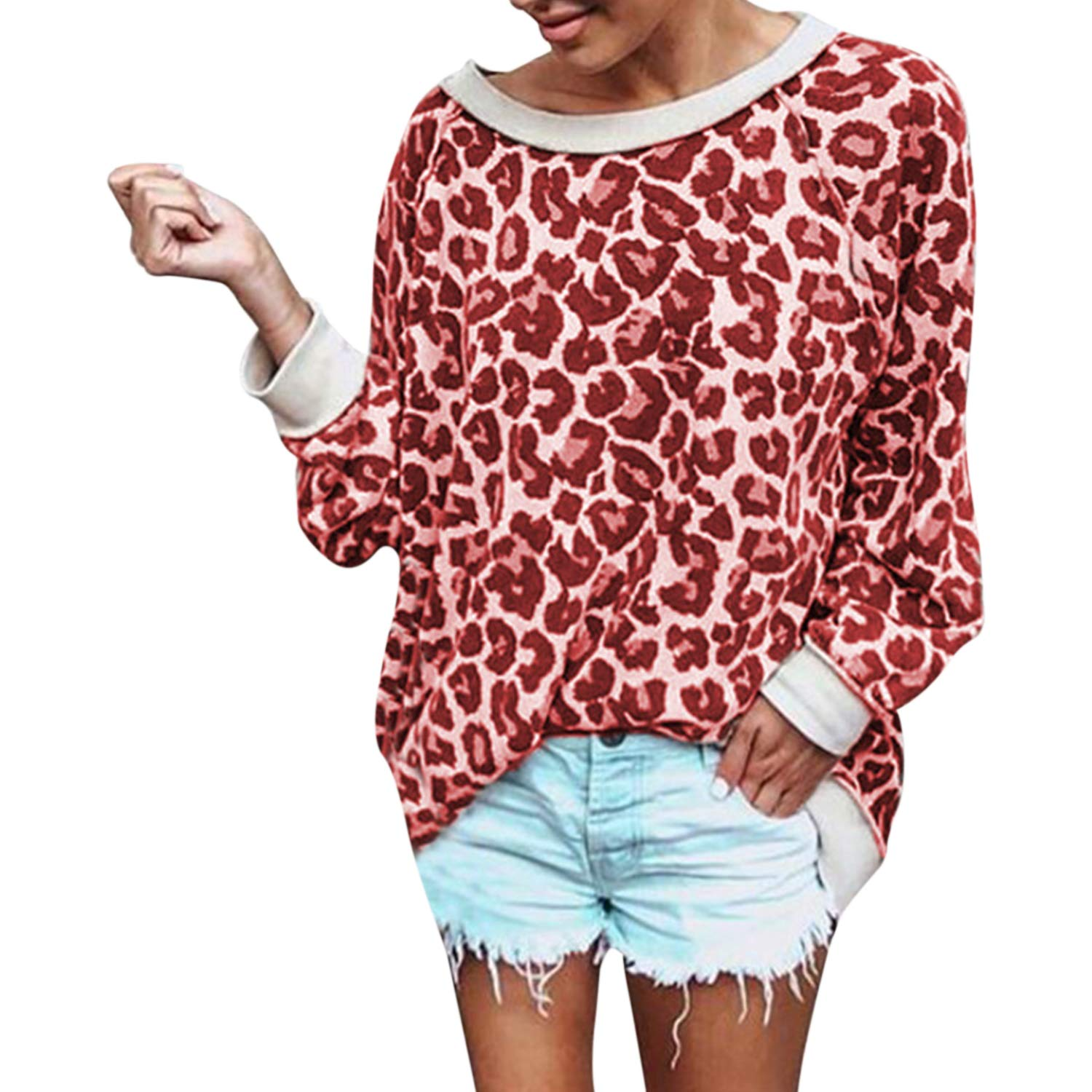 Lisli Womens Casual T-Shirt Leopard Print Pullover Long Sleeve Sweatshirts Top Blouse
