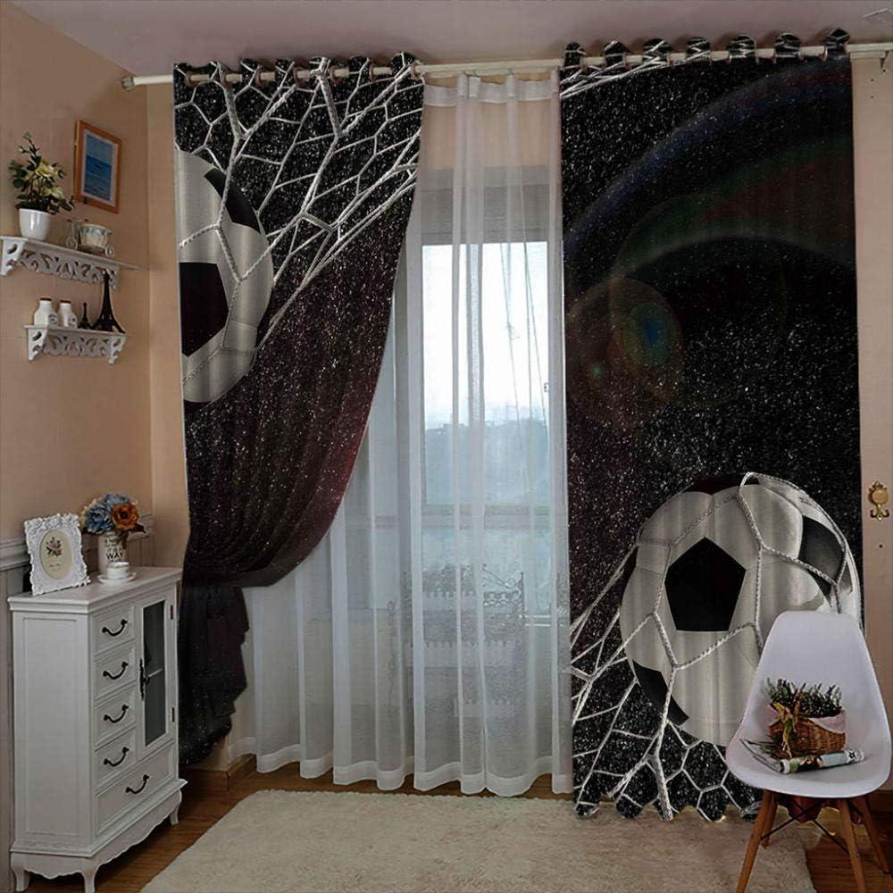no/brand 3D Kinderzimmer Verdunkelungsvorh/änge Fu/ßball,Polyester Vorh/änge F/ür Schlafzimmer Kinderzimmer Wohnzimmerdekoration150X166Cm