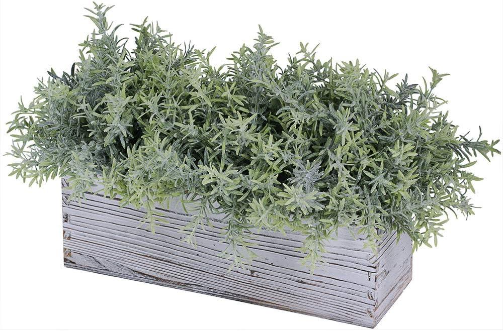 Winlyn Artificial Plants Plastic Fake Green Rosemary Greenery in Rustic Rectangular Wood Planter Box Farmhouse Decor