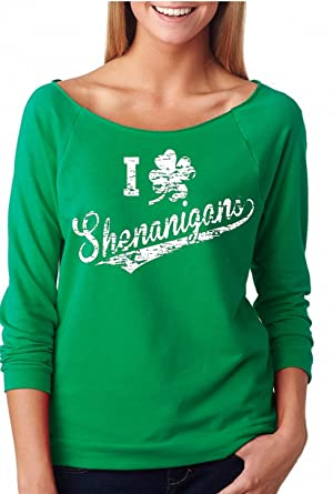 cd1940ac22e YM Wear Women s I Clover Shenanigans St. Patricks Day Off The Shoulder Top  Plus Size XL-4X Kelly Green at Amazon Women s Clothing store