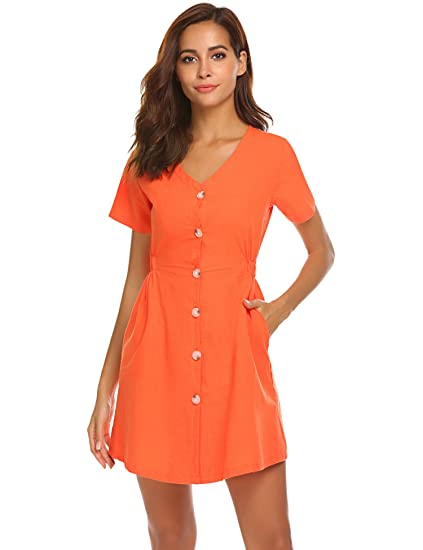 5cde93e7 Halife Women's Summer Short Sleeve V Neck Button Down Swing Mini Dress with  Pockets (XL