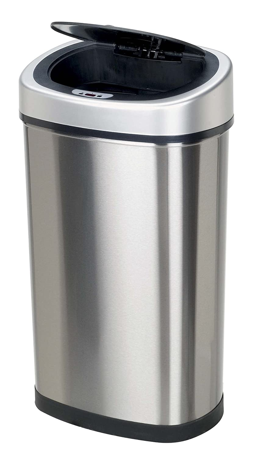 touchless trash can home kitchen office bathroom 13 2 gallon stainless steel ebay. Black Bedroom Furniture Sets. Home Design Ideas