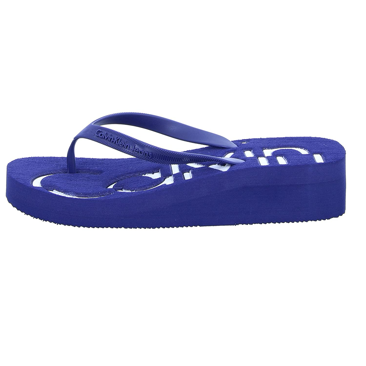 f5cd87038 Calvin Klein Women s Tamber Jelly Toe Post Wedge Flip Flop Blue White   Amazon.co.uk  Shoes   Bags