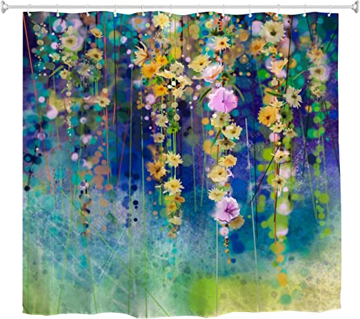 Watercolor Spring Wisteria Flower Green Leaves Shower Curtain Set Bathroom Decor