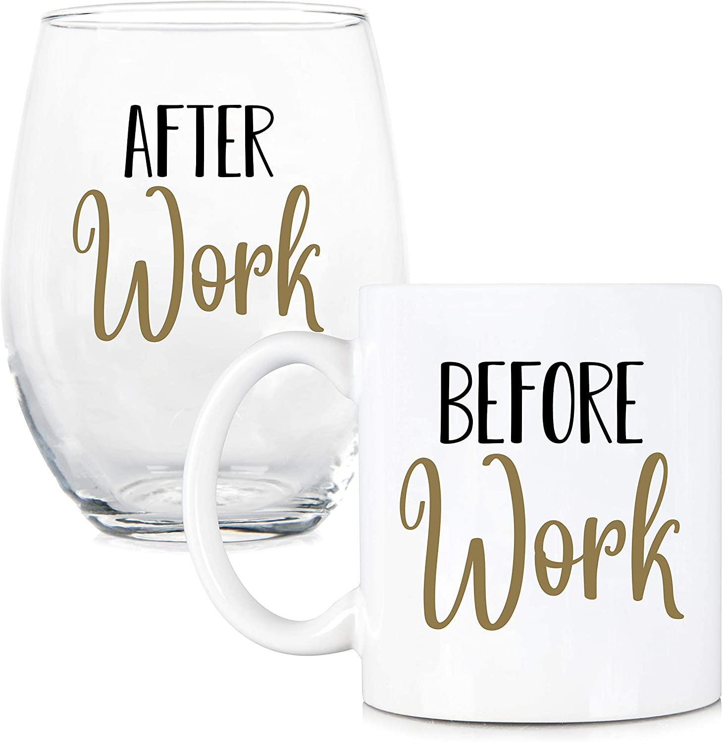 Before Work, After Work 11 oz Coffee Mug and 15 oz Stemless Wine Glass Set - Work Friend Glass - Gift for Boss, Coworker, Office Friend - Work Life - Work Gifts - New Job Glass