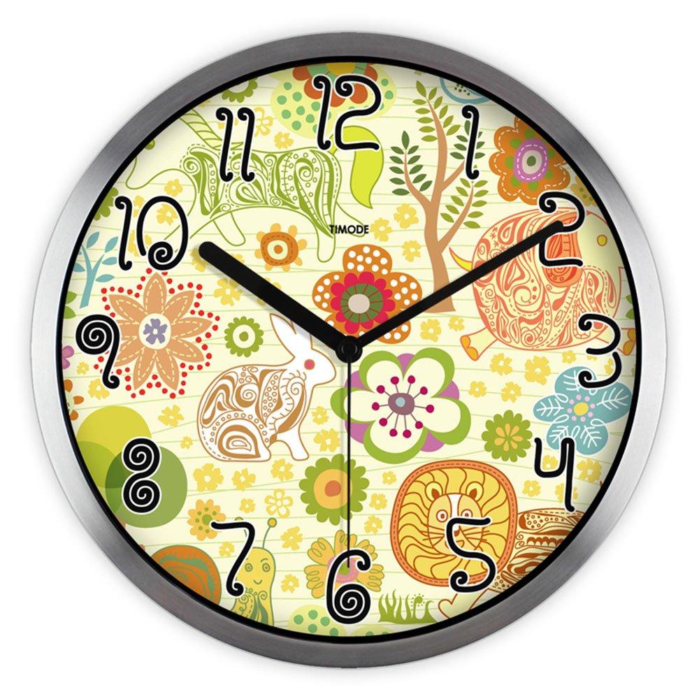 LXF Wanduhr Cartoon Wanduhr Kinderzimmer Stille Nette Uhren und Uhren Glas Runde Wanduhr Wanduhren (Farbe : Silber, größe : 12inch)