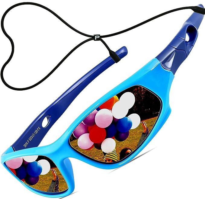 ATTCL Unisex-niños Deportes Gafas De Sol Polarizado Uv400 Protección Súper Ligero años 3-12 5025-blue-blue