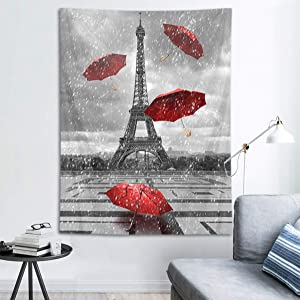 HVEST Eiffel Tower Tapestry Red Umbrella Flying in Paris Square Wall Hanging Black and White Rain Cityscape Tapestries for Bedroom Living Room Dorm Party Decor,40Wx60H inches