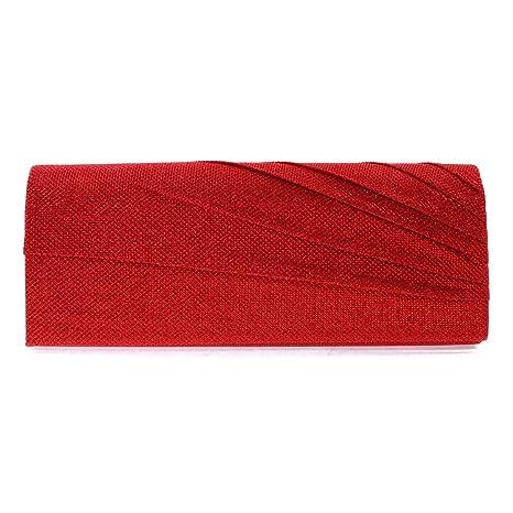 Damara Fiesta Mujer Bolso De Noche Con Pliegue Embrague De Cartera Bolso De Mano,Rojo
