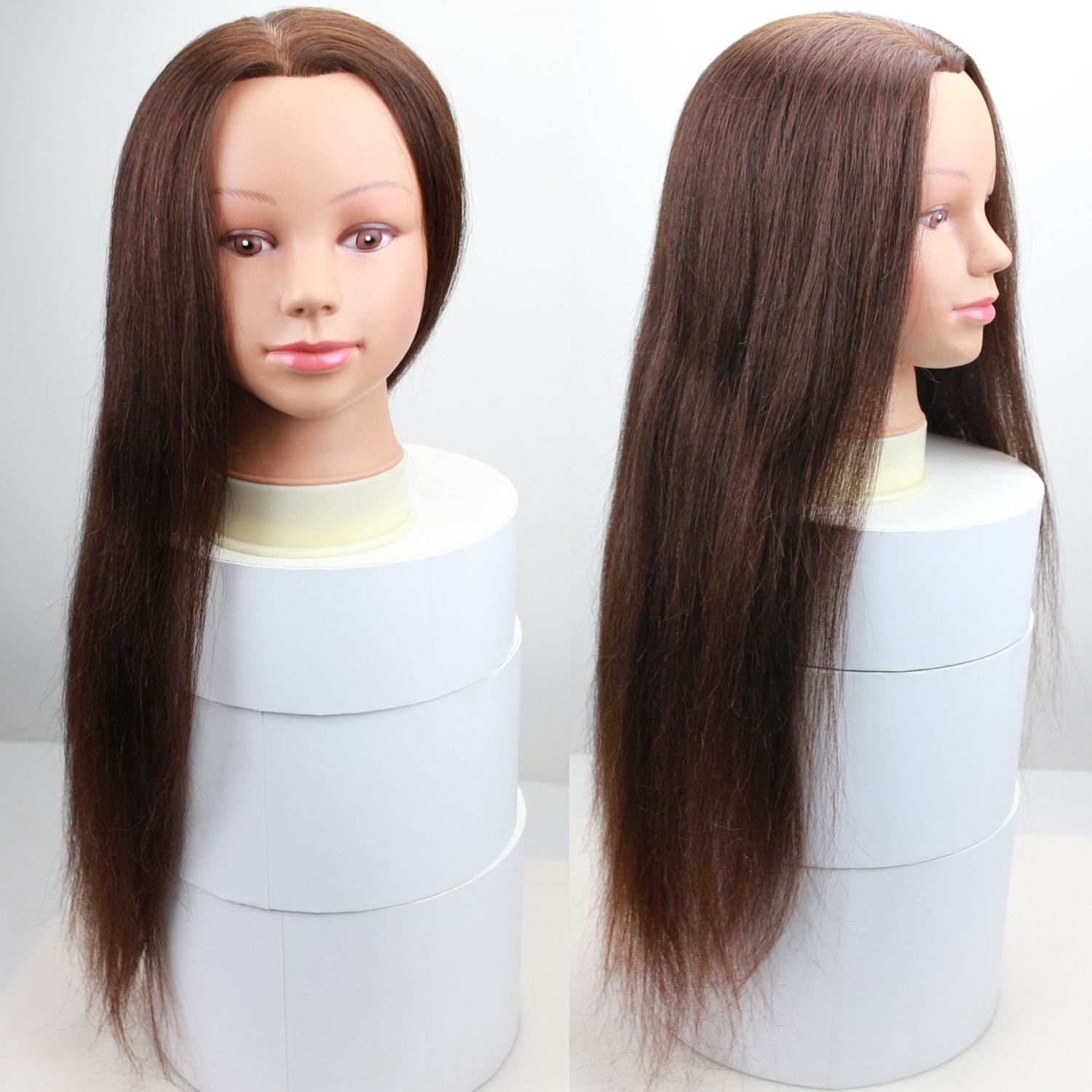 Dreambeauty 24 #4 Brown Color Hairdressing Training Head 100% Human Hair Mannequin Cosmetology Manikin Training Head with Human hair Styling Doll Head Qingdao Feiyang Hair Co. Ltd