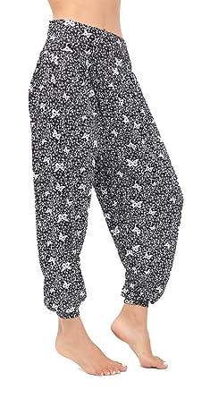 Womens Ladies Paisley Italian Ali Baba Trouser Elasticated High Waist Pants 8-26