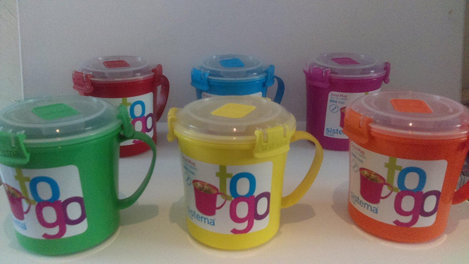 Sistema To Go Mugs 22.1 oz 6 Pack (Yellow, Green, Orange, Pink, Blue and Red)