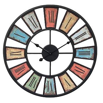 GANADA Reloj de Pared Vintage, 50cm Reloj de Pared Silencioso Decoración Adorno para Hogar Salon Oficina Comedor Habitación (A): Amazon.es: Hogar
