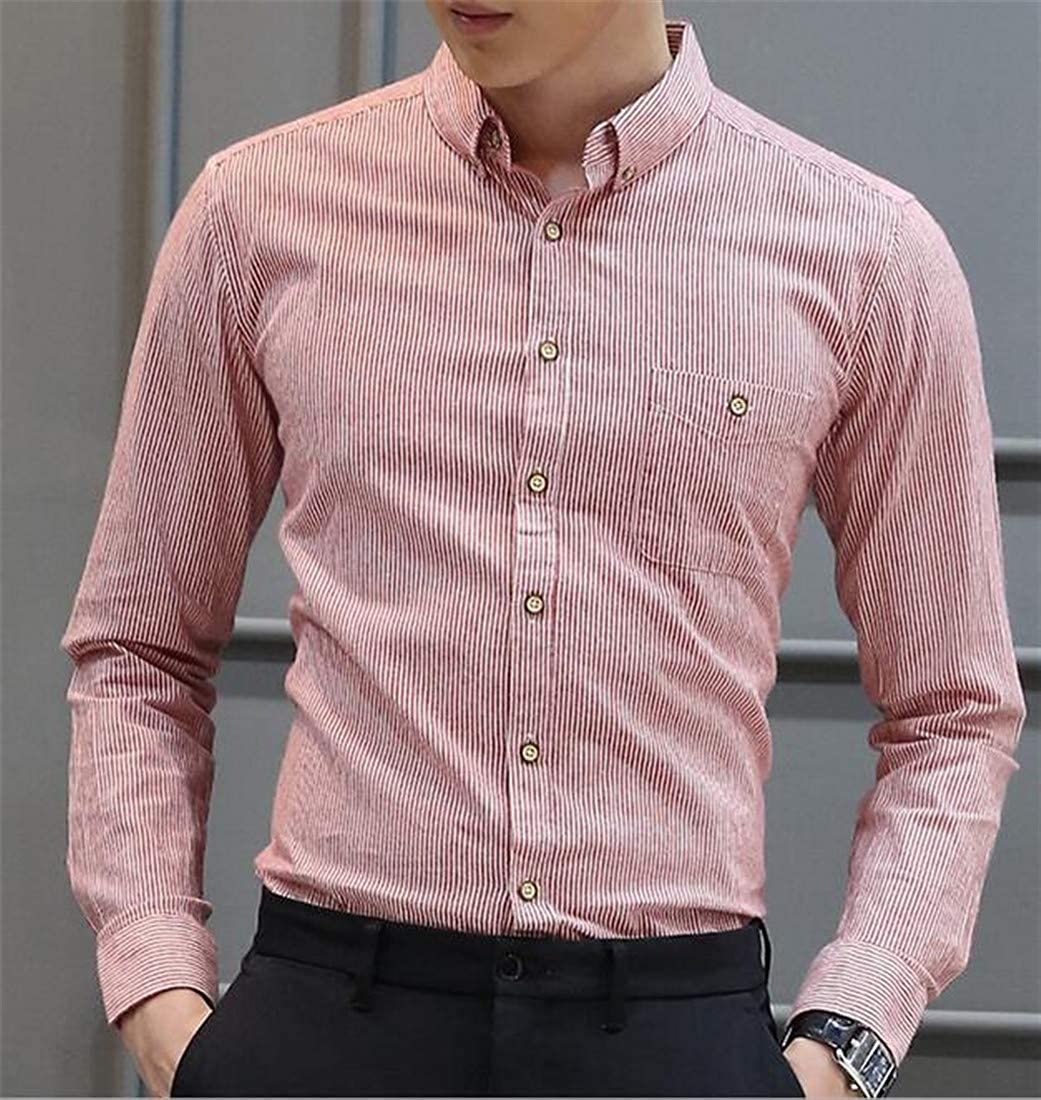 Lutratocro Mens Long Sleeve Casual Slim Button Down Stripe Shirts