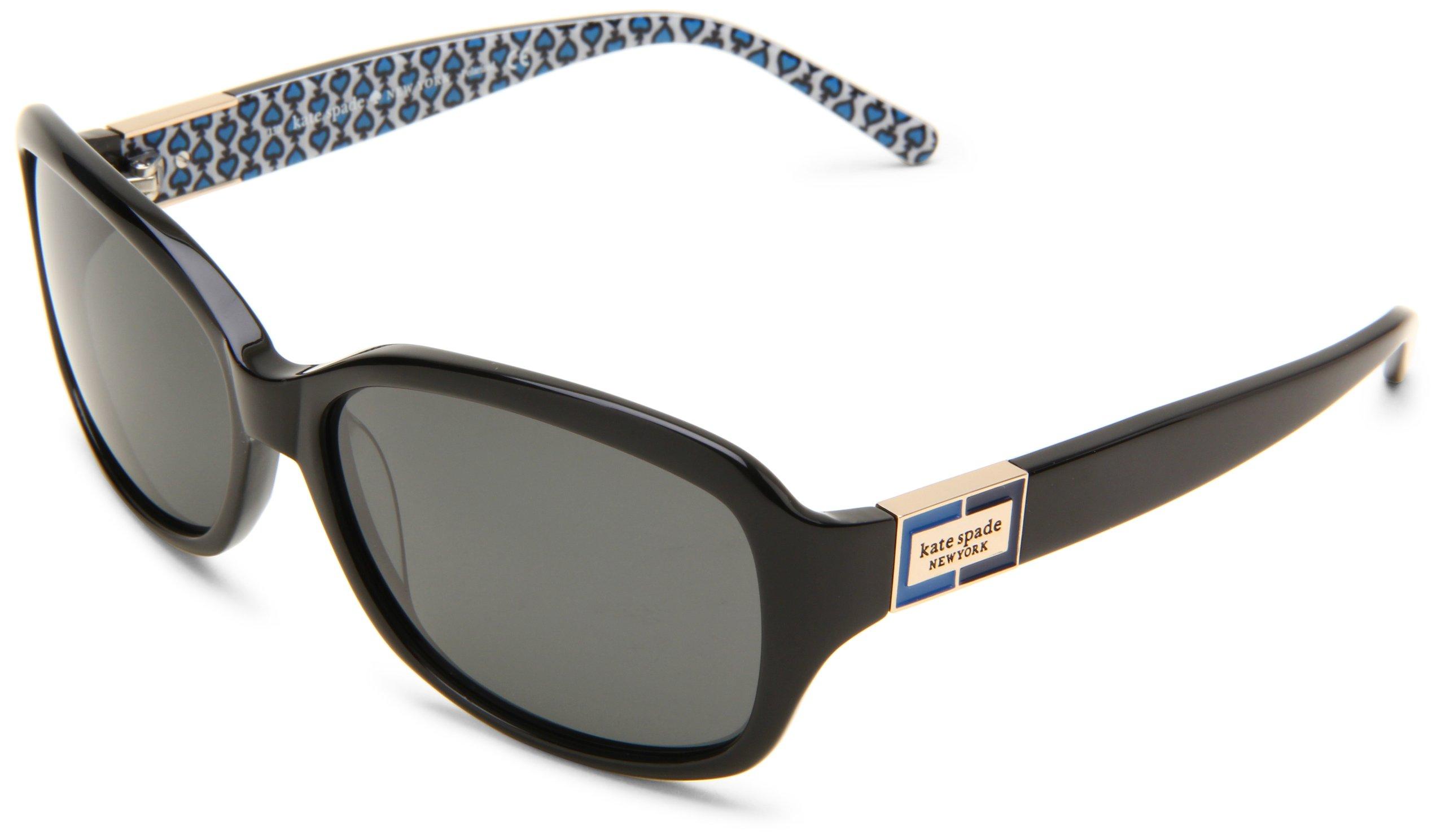 Kate Spade Women's Annikps Polarized Rectangular Sunglasses,Black & Blue Frame/Gray Lens,One Size