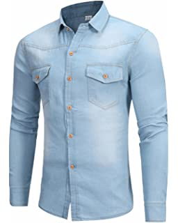 c53fff2769 Youhan Men s Vintage Fitted Long Sleeve Denim Shirt at Amazon Men s ...