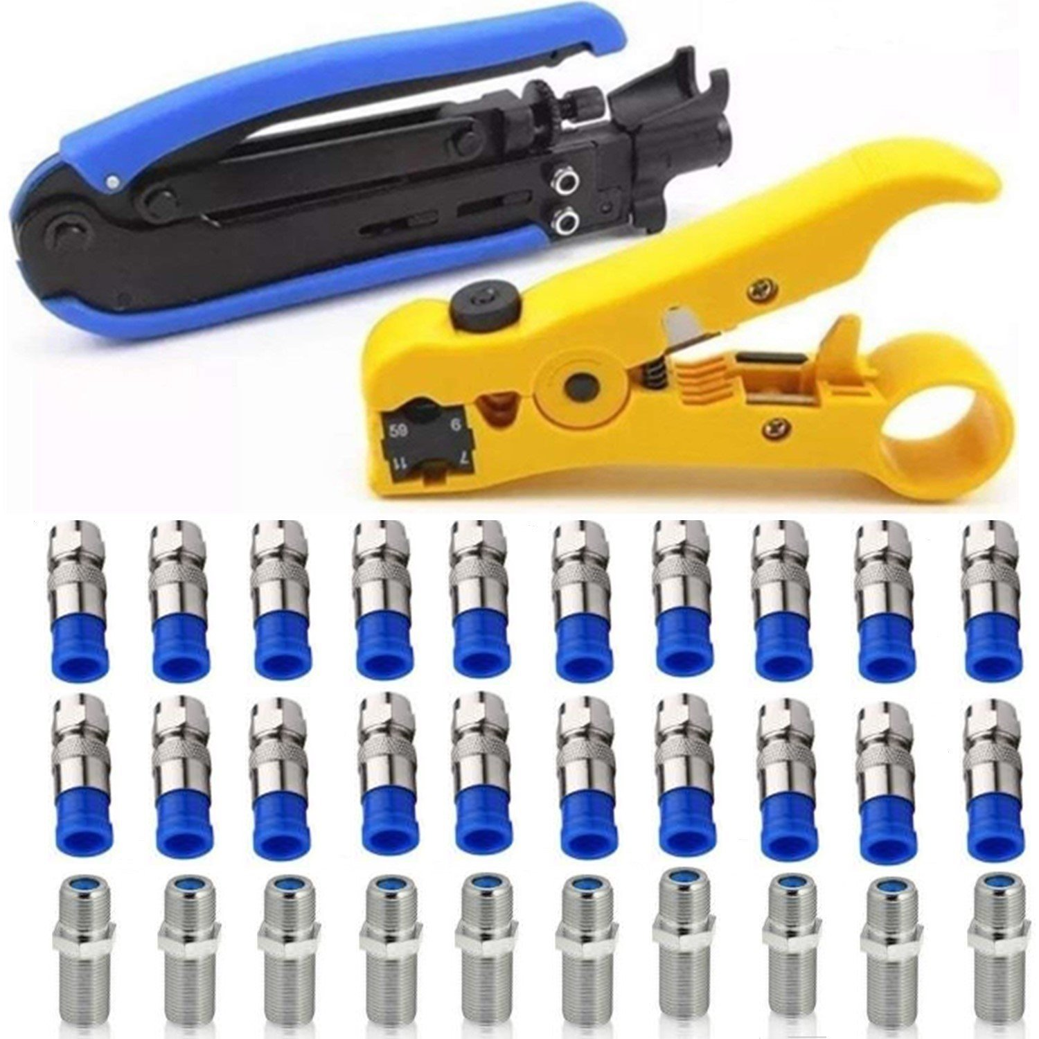 Coaxial Compression Tool Coax Cable Crimper Kit Adjustable RG6 RG59 RG11 75-5 75-7 Coaxial Cable Stripper with 20 PCS F Male And 10 PCS Female to Female RG6 Connectors by Gaobige