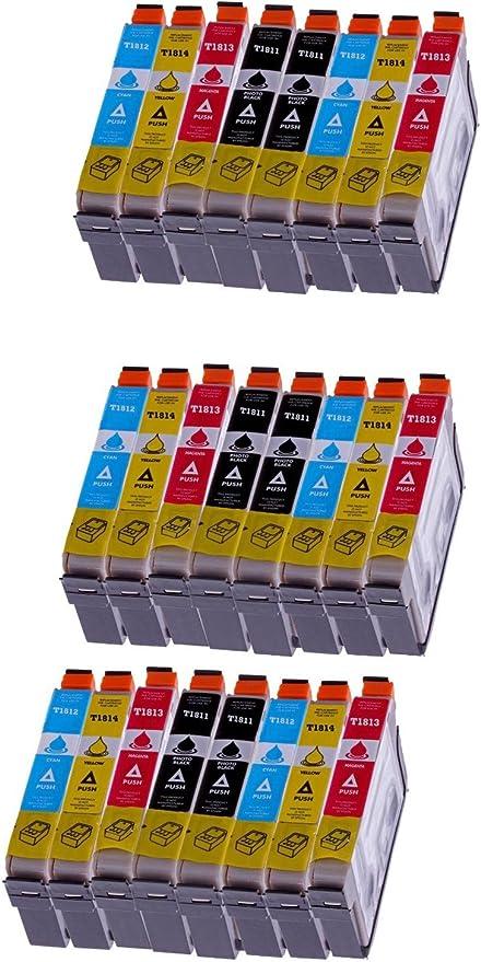 24 Pack cartucho de tinta para Epson (T1816) Epson T 1811 T 1812 T 1813 T 1814 (con chip compatible (Negro, Cian, Amarillo, Magenta): Amazon.es: Oficina y papelería