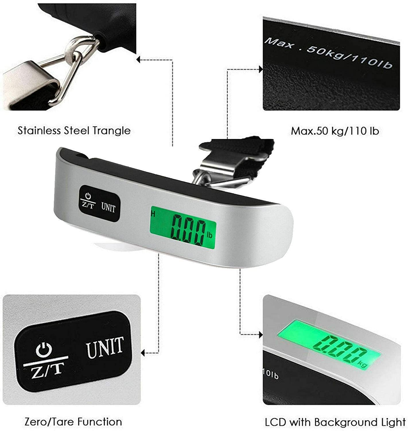 5 Core Digital Luggage Scale 110 Lbs Battery Included hook Portable Handheld
