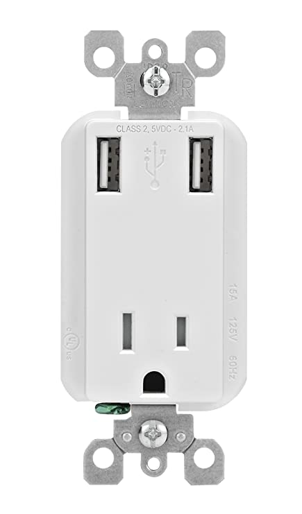 Leviton T5630-W 2.1-Amp High Speed USB Charger/Tamper-Resistant ...