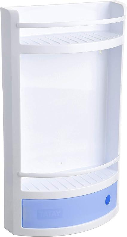 Oferta amazon: Tatay Estante Plano en Material plástico Blanco, con cajón en Azul translúcido sin pomo de práctica Apertura. Higiénico y fácil Mantenimiento. Medidas 29x11x51 cm