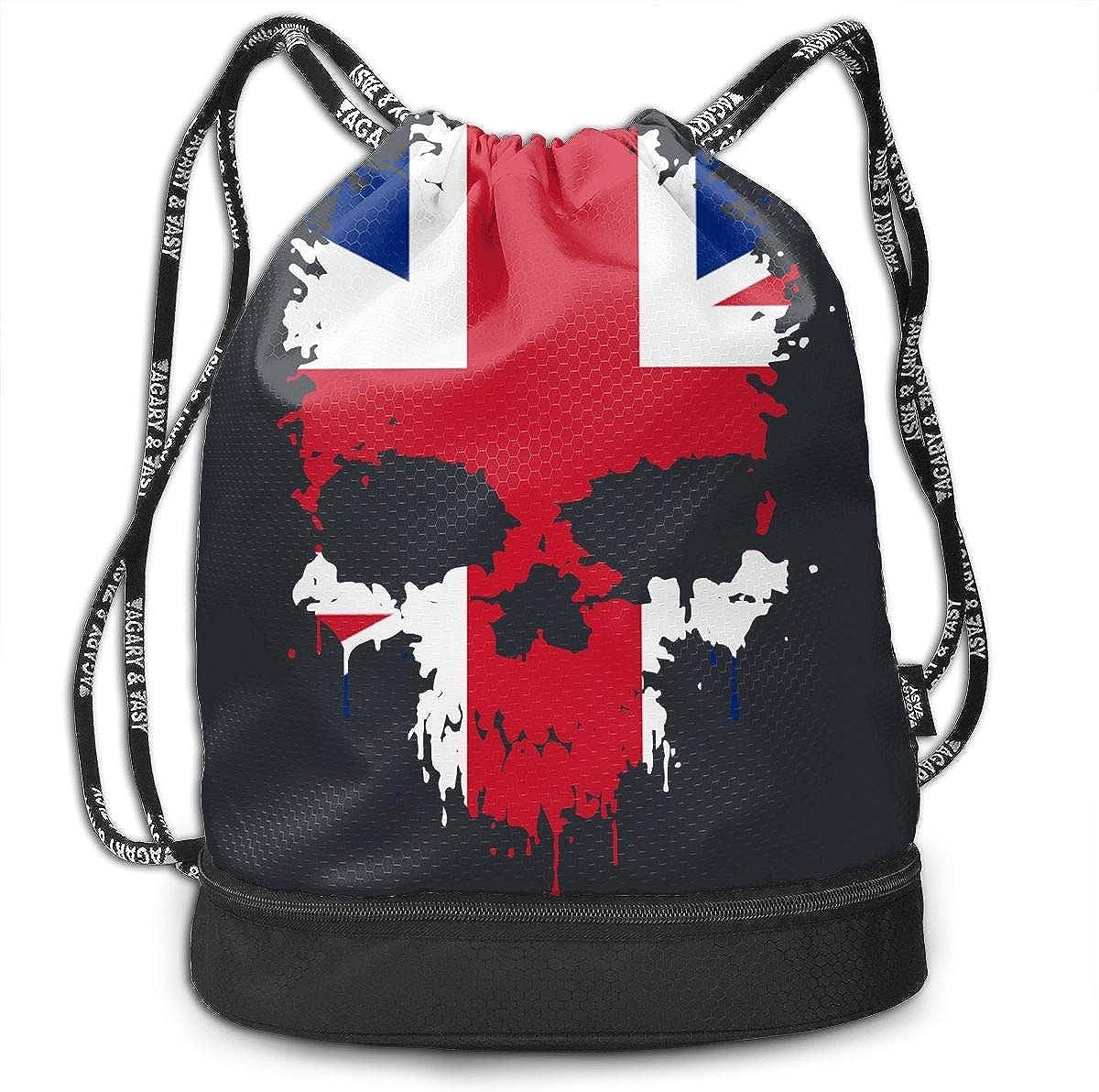 British Flag Splatter Skull Drawstring Bag Multifunctional String Backpack Custom Cinch Backpack Rucksack Gym Bag