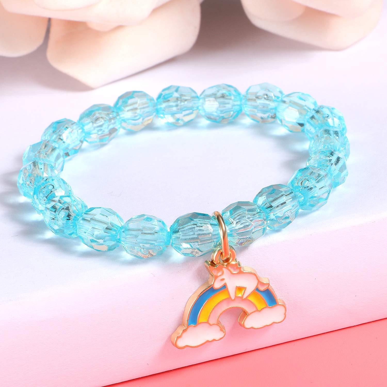 Girls Unicorn Bracelet Beads Charm Jewellery Friendship Gift Party Pink Loot Bag