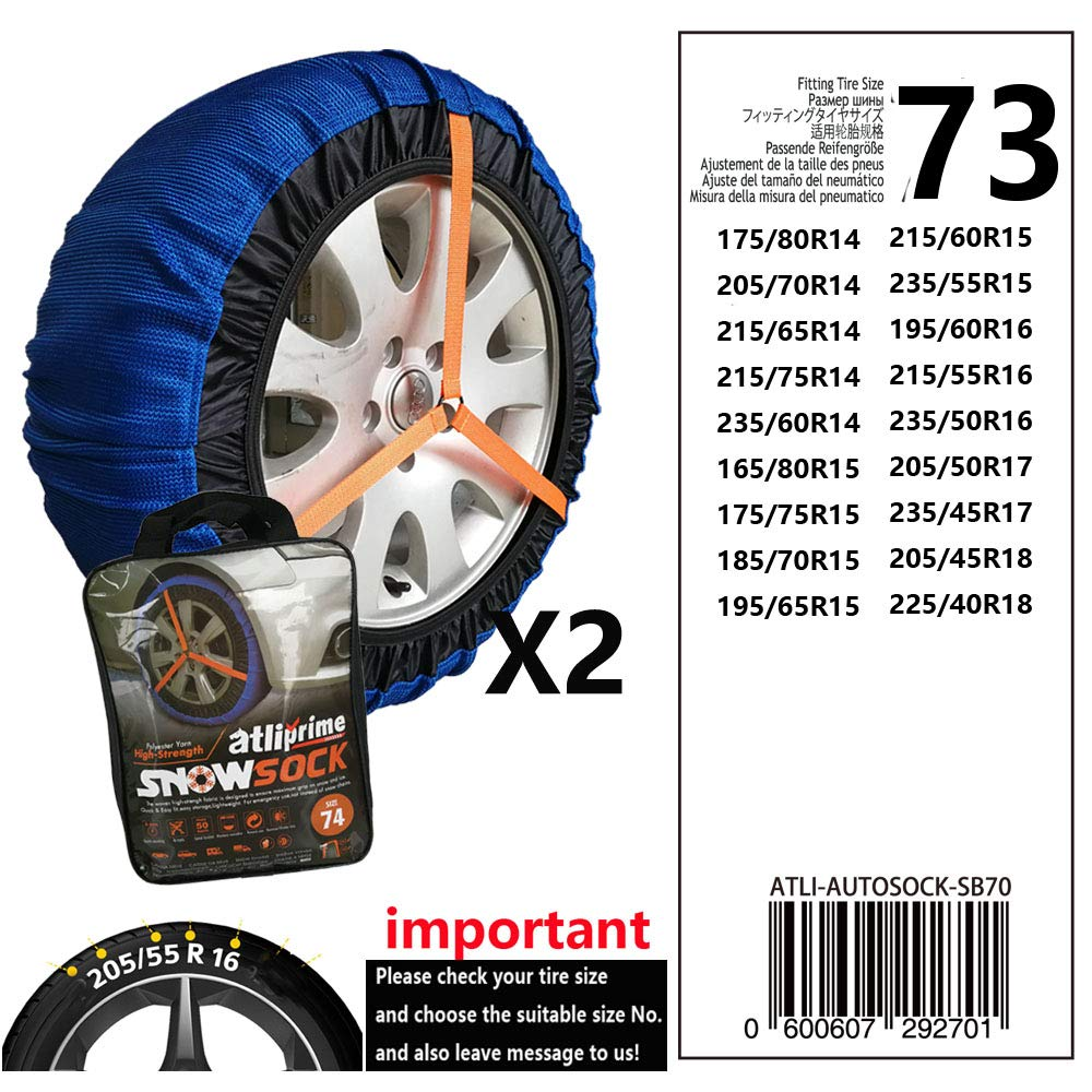 atliprime 2pcs Anti-Skid Safety Ice Mud Tires Snow Chains Auto Snow Chains Fabric Tire Chains Auto Snow Sock on Ice and Anowy Road (AT-SB73) by atliprime