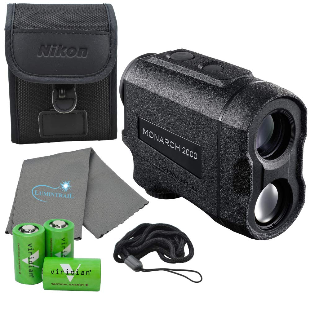 Nikon Monarch 2000 Laser Rangefinder Wide Angle - 16661 Bundle with 3 CR2 Batteries and a Lumintrail Cleaning Cloth by Nikon