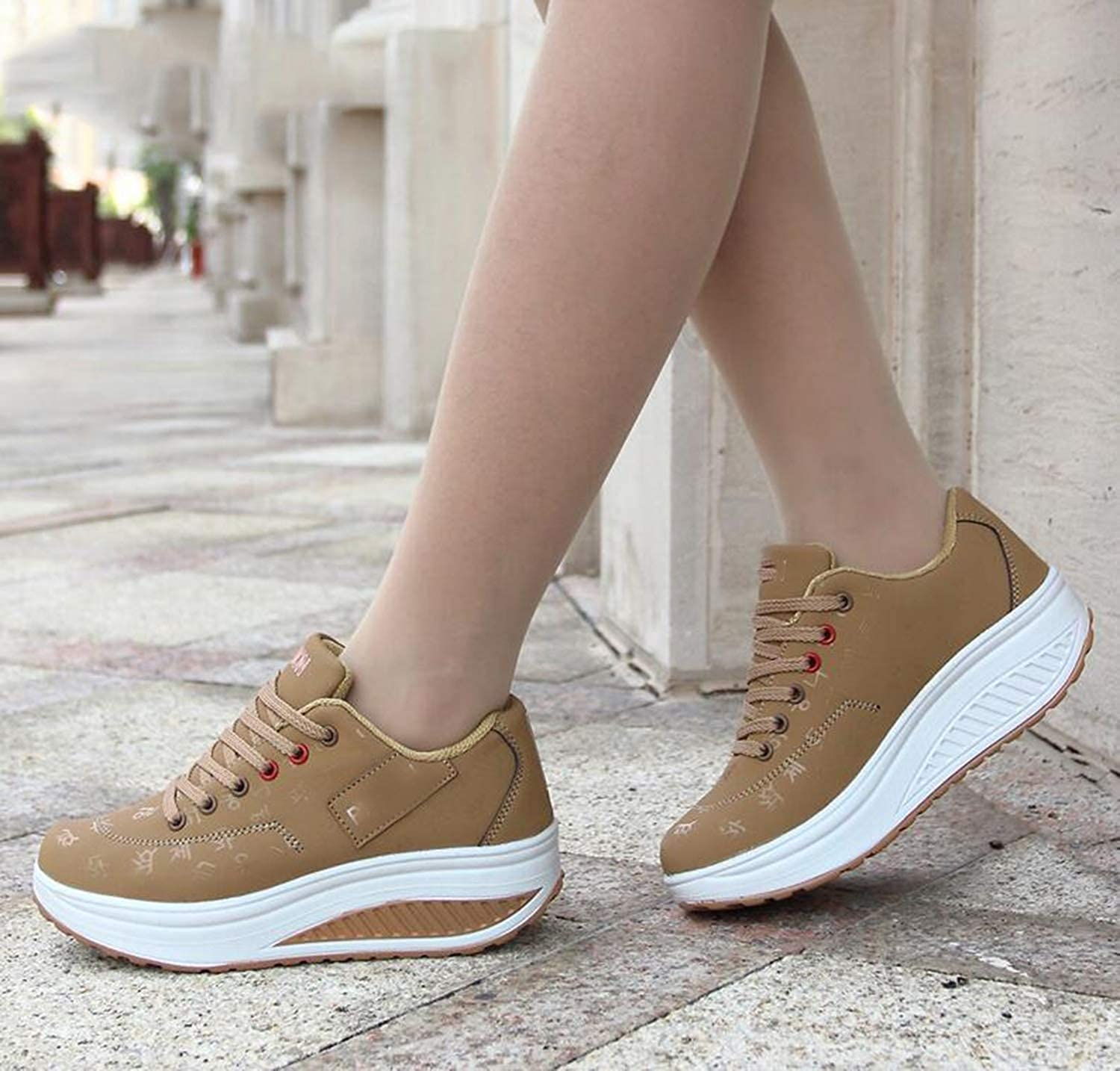Amazon.com | Awmerny Boots Waterproof Wedges Platform Vulcanize Shoes Woman Pu Leather Women | Fashion Sneakers