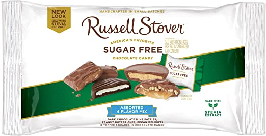 Russell Stover Sugar-Free 4-Flavor Mix Laydown Bag, 10 Ounce