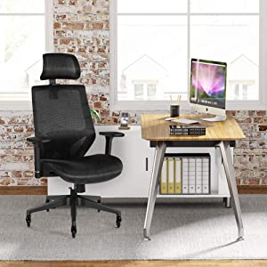 Tribesigns Ergonomic Office Chair with 3D Armrest, High Back Mesh Desk Chair with Lumbar Support, Skate Style Wheels and Saddle Seat Cushion, Adjustable Headrest, Backrest