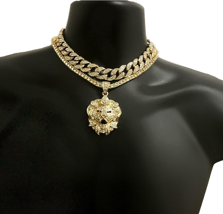 18K Hip Hop quavo Diamante Estrás Cadena Collar Gargantilla simulado