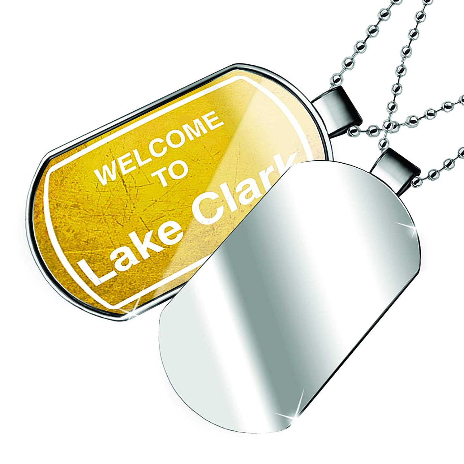 NEONBLOND Personalized Name Engraved Yellow Road Sign Welcome to Lake Clark Dogtag Necklace
