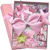 Aerolite Girl Hair Clips 10 Pcs Girl Bowknot Flower Hair Clip Multi-Style Bow Hairpin Ribbon Xmas Gift (Pink)