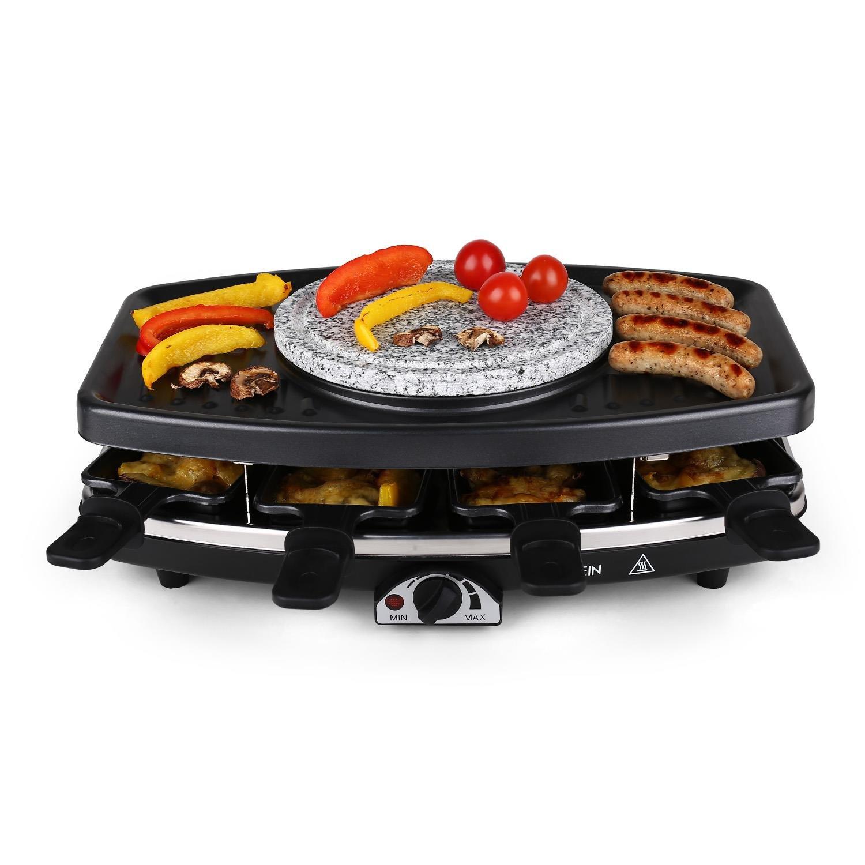 Klarstein Entrecote Raclette • Fondue • Parrilla • Barbacoa-Party • 1100W • regulador de calor continuo • 8 sartenes • Antiadherente • 6 tenedores Fondue ...